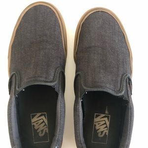 Boys Gray Slip-On Vans Size 5.5